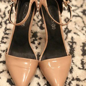 Nude Closed Toe Pointy Heels/Pumps